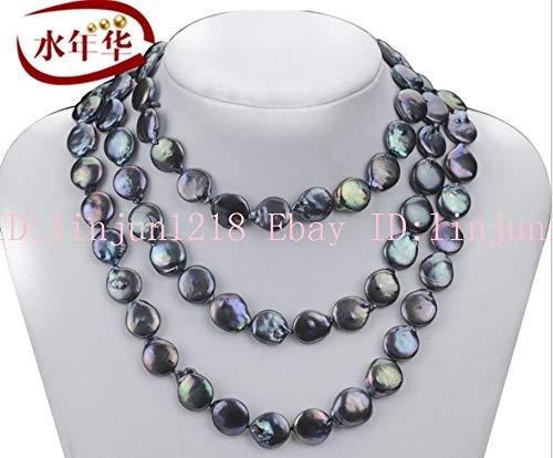 (FidgetFidget Natural 12-13mm Black Cultured Coin Pearl Necklace Long 35'' AAA)