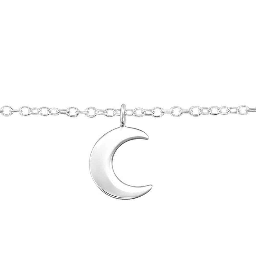 Plain Silver Moon Anklet Sterling Silver Nickle Free Sensitive Skin (E31580)