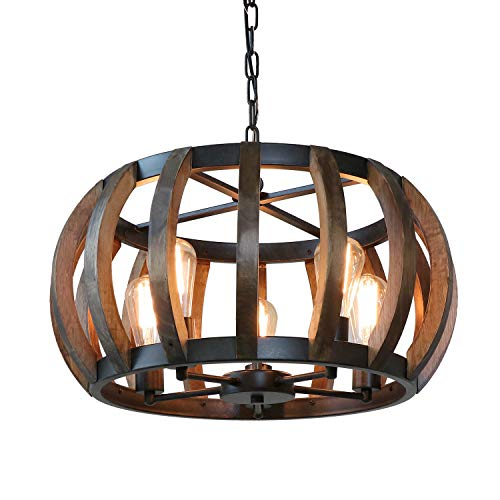 Anmytek Pumpkin Round Pendant Light Vintage Rustic Wood Frame Lamp Adjustable Chain Chandelier E26 Base Bulb Hanging Lighting Kitchen Island Dining Room Ceiling Light Fixture 5-Light(C0070)