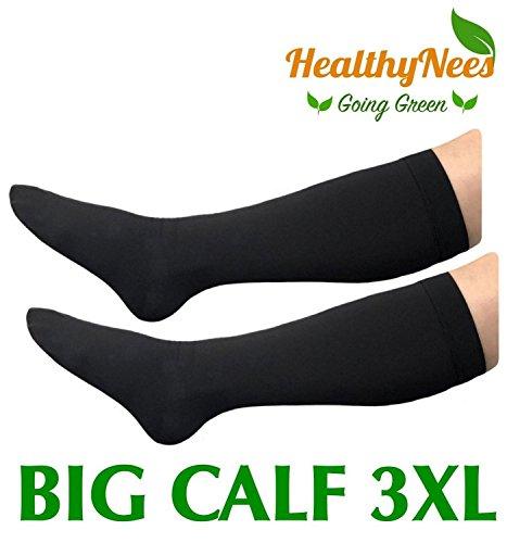 HealthyNees Closed Toe Extra Big Wide Calf Shin Plus Size 20-30 mmHg Compression Grade Leg Length Swelling Circulation Women Men Socks (Black, Big Calf 3XL) by HealthyNees