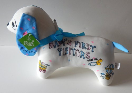 New BABY BOY Autograph Dog ~ Fun NEWBORN Baby Shower Gift ~ Adorable Way to Remember First Visitors ~ special moments by K&G ()