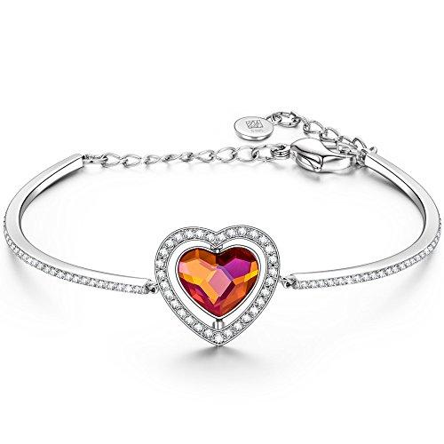 NINASUN Women Bracelet Ruby Heart Bracelet Fine Jewelry Present s925 Sterling Silver Bangle Adjustable Swarovski Anniversary Birthday for Women Wife Valentines Day Gifts for Her Girlfriend