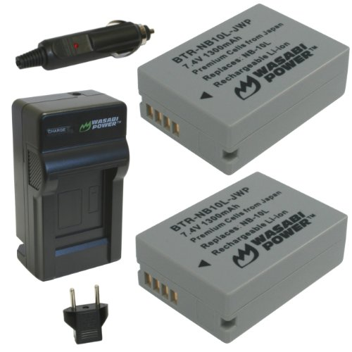 Wasabi Power Battery (2-Pack) and Charger for Canon NB-10L, CB-2LC and Canon PowerShot G1 X, G3 X, G15, G16, SX40 HS, SX50 HS, SX60 HS