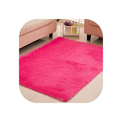 Living Room Carpet European Fluffy Mat Kids Room Rug Bedroom Mat Anti Skid Soft Faux Fur Area Rug Rectangle Mats Black red,Rose red,100x200cm