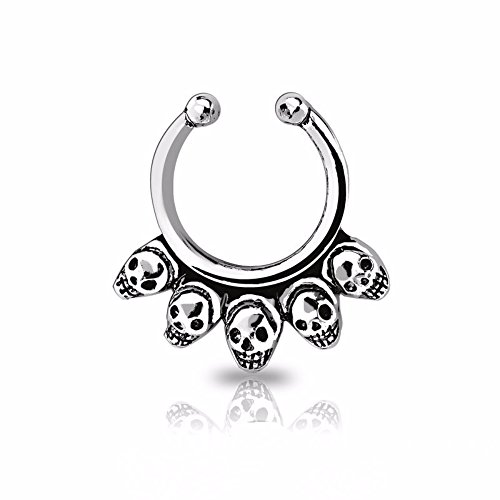 Freedom Fashion Skulls Fake Septum Ring Antique - 316L Surgical Steel Rhodium Plated (Sold By Piece) - Skull Septum Ring