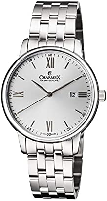 Charmex Luxury Men's 'Amalfi' Wrist Watch Stainless Steel Case and Black Stainless Steal Band — 42mm Analog Watch — Swiss Quartz Movement (Model: CX-3035)