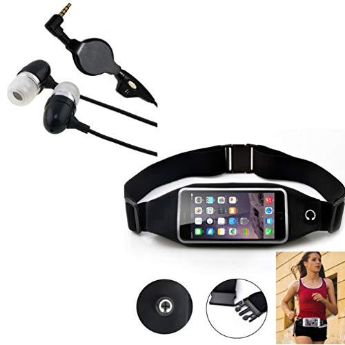 Black Sport Workout Belt Waist Bag Case w Retractable Headset Hands-Free Earphones w Mic A1W Compatible with Huawei Pronto, Raven, P9 P10 P30, Mate SE S, P8 Lite, Ascend P8 P7, Vision 3 LTE