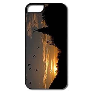 IPhone 5 5S Case, Birds Park Sunset White/black Cover For IPhone 5 5S