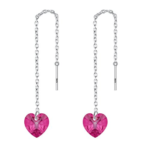 EVER FAITH 925 Sterling Silver Cute Love Heart Ear Threader Dangle Earrings Adorned with Swarovski crystals