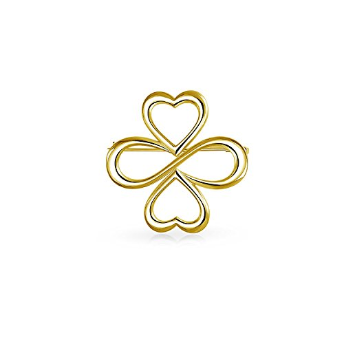 Ayllu Inspirational Symbol Heart Infinity Clover For Love Luck Unity Brooch Pin For Women 14K Gold Plate Sterling Silver (14k Pin Brooch)