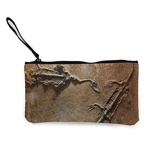 Portable Canvas Wallet Dinosaurs Fossil Coins Purse Credit Card With Zippered Pocket