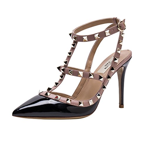 Shoes Leather Slingback (Kaitlyn Pan Pointed Toe Studded Strappy Slingback High Heel Leather Pumps Sandals)