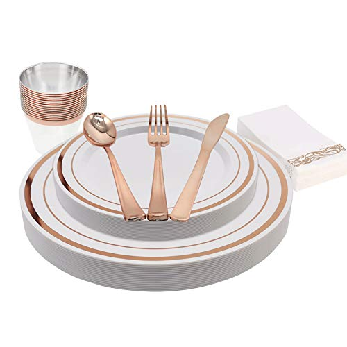 KAPATI 105 Piece Guest Rose Gold Disposable Plastic Dinnerware Set Including 15 Dinner Plates, 15 Salad Plates, 15…