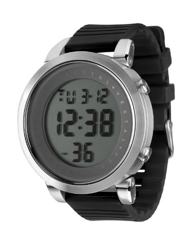 Vestal Men's DDDS04 Digital Doppler Rubber Black Silver Watch