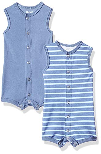 Hanes Ultimate Baby Flexy 2 Pack Sleeveless Rompers, Dark Blue Stripe, 12-18 Months