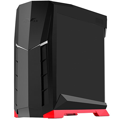SilverStone Technology ATX Tower Case with 90 Degree Motherboard Rotation, Black & Red CS-RVX01BR (Smallest Case To Fit Full Size Graphics Card)
