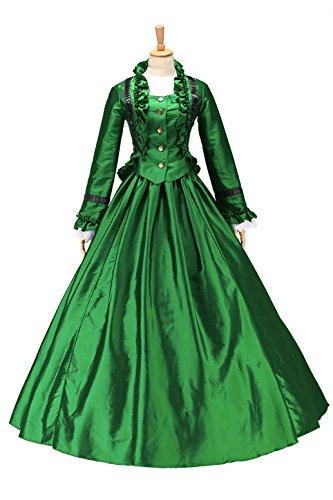XOMO Fabulous Civil War Vintage Victorian Gown Period reenactment FRILLING Prom Dress Dark Green XL Civil War Clothing Women