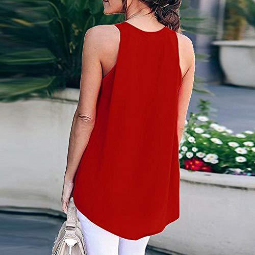 T Losvallend shirt Fashion Comfortabel Tops Effen V Kleur T Blouse shirts Zomer Rode Vjgoal Chiffon Sexy Casual Mouwloos hals PF46xqFXw