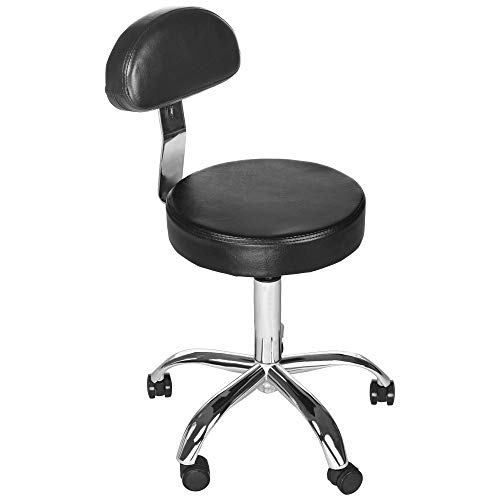 Hydraulic Lift and Round Stool Beauty Adjustable Chair with Backrest for Office Home Beauty Salons - Black (Black)