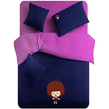 Cock Cola Dark Purple Little Girl Pattern Cotton Bedding Set California King