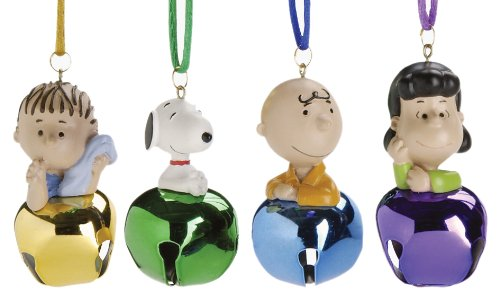 Peanuts Jingle Buddies with Cord, 4-Piece (Peanuts Christmas Ornaments)