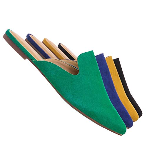 Aquapillar Pointed Toe Flat Mule - Women Dressy Slip On Backless Loafer Slipper Emerald Green (Footwear Slip Ons Toe Closed)