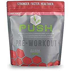 PUSH Pre-Workout Powder (Fruit Punch) by SFH® | Best Tasting 5g BCAA's for Muscle Repair | Non-Dairy, No Artificial Flavors, Colors, or Sweeteners | 540g Bag