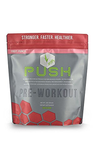 PUSH Pre-Workout Powder (Fruit Punch) by SFH®   Best Tasting 5g BCAA's for Muscle Repair   Non-Dairy, No Artificial Flavors, Colors, or Sweeteners   540g Bag