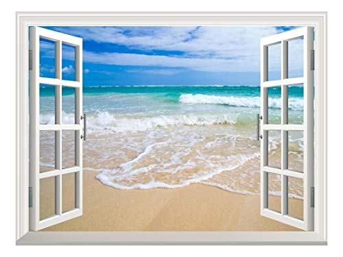 wall26 Removable Wall Sticker/Wall Mural - Beautiful Blue Caribbean Sea Beach | Creative Window View Home Decor/Wall Decor - 36