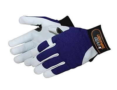 Liberty Lightning Gear Premium Grain Goatskin Leather Mechanic Glove with Reinforced Fingertips and Palm