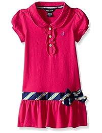 Nautica - Vestido de piqué para niña con Falda de Rayas y Cuello de Punto Plano