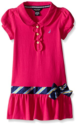 Pique Girls Polos Solid - Nautica Little Girls Solid Pique Polo Dress, Medium Pink, 6X