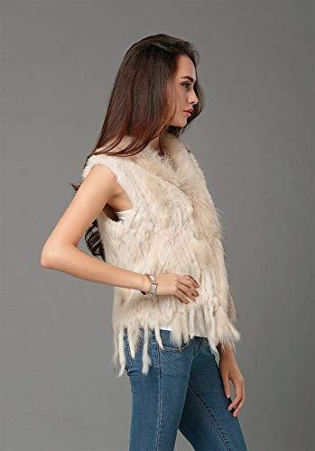 Vest Gilet Art Femme Blouson Fourrure Gilet Manteau Elgante Houppe Warm Taille Automne Outerwear Fourrure Vtements Hiver Sleeveless Confortables Grande De Beige Fourrure aB4CH