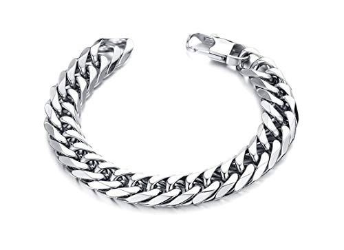 Aokarry Jewelry - Men Stainless Steel Bracelet, Bangle Bracelet Curb Chain White 9.5MM 20 cm (Outlet De San Marcos)