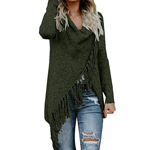 COPPEN Women Blouse Women Stripes Poncho Fall Tassels Slash Gradient Shawl Hem Fringe Loose Sweater