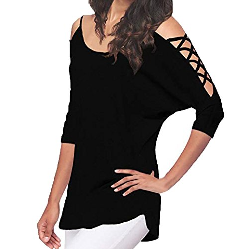 Women Hollow Out Cross Cold Shoulder Casual Half Sleeve Tops Shirt Tunic Blouse
