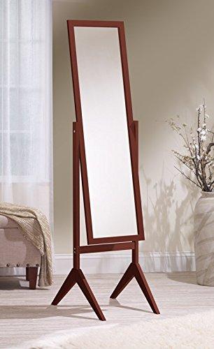 Mirrotek Adjustable Free Standing Tilt Full Length Body Floor Mirror, Cheval Style Tall Mirror, Cherry