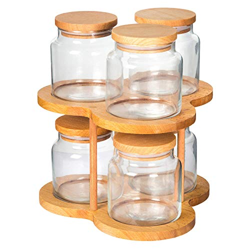 (Revolving Carousel Spice, Herb, Cookie Rack with 6 Clear Glass Jars | Decorative, Spacious Kitchen Organizer)