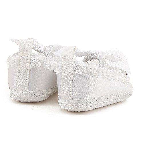 DELEBAO Scarpe Battesimo Bimba Scarpe da Culla Neonato Bianco Primi Passi  Scarpe Neonata Ballerine Pantofole Morbide Bimba 1f183438297