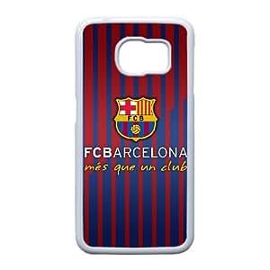 FC Barcelona Logotipo caso E9P45Y2PI funda Samsung Galaxy S6 funda YXNPJ3 blanco