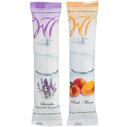 Moist Cotton Towel - Lavender and Peach-Mango (Case of 100)