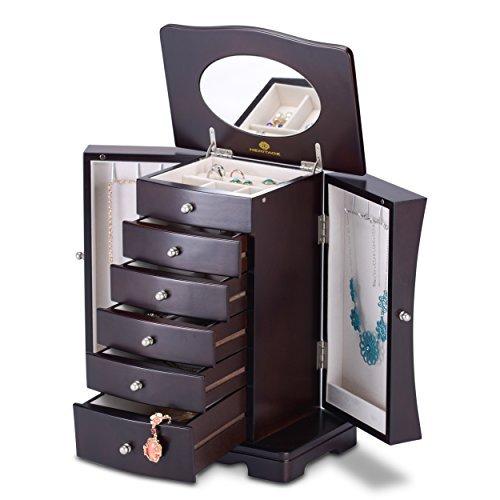 HERITAGE moderner Holz Schmuckkasten, Espresso Schmuckschatulle Speicherorganisator