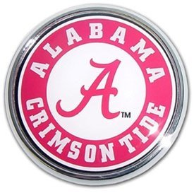 Alabama Crimson Tide Metal Auto Emblem with Colored Team Seal Logo by Electroplate