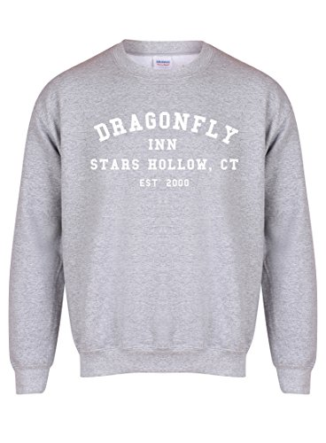 Dragonfly Sweater (Dragonfly Inn Stars Hollow, CT, Est' 2000 - Grey - Unisex Fit Sweater - Fun Slogan Jumper (Small - Chest 34-36 inches, w/White))