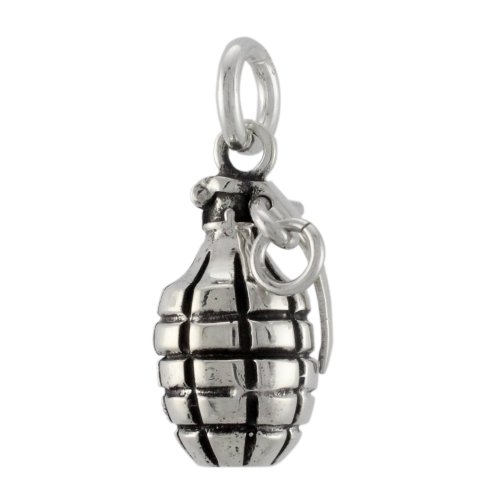 Solid 925 Sterling Silver Hand Grenade Charm Pendant