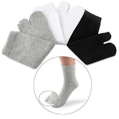 NUOLUX Elastic Cotton Tabi Toe Socks (White+Grey+Black)-3 for sale  Delivered anywhere in USA