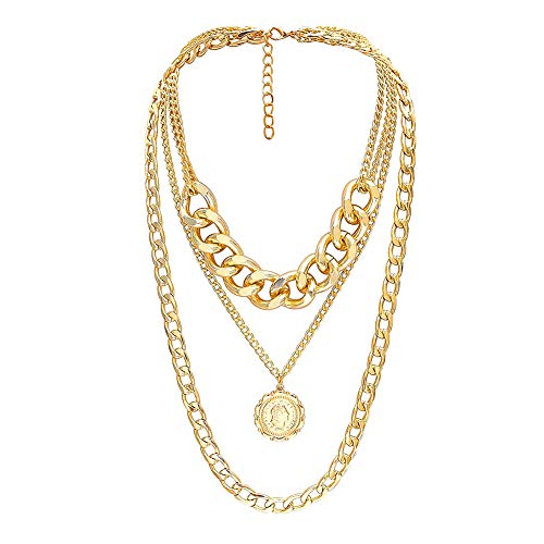 bjduck99 Women Hip-Hop Multi-Layer Embossed Queen Pendant Cuban Chain Necklace Jewelry Gift