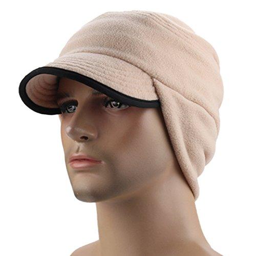 Unisex Winter Hats Outdoor Windproof Fleece Earflap Ball Hat Warm Hat Beige - Earflap Ball Cap