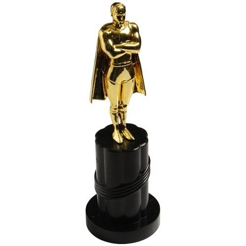 Gold Plastic Super Hero Trophy With Cape (1) -