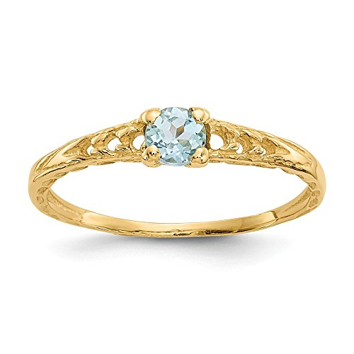 (14k Yellow Gold 3mm Blue Aquamarine Birthstone Baby Band Ring Size 3.00 March Fine Jewelry Gifts For Women For Her)